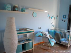 chambre bebe taupe et turquoise